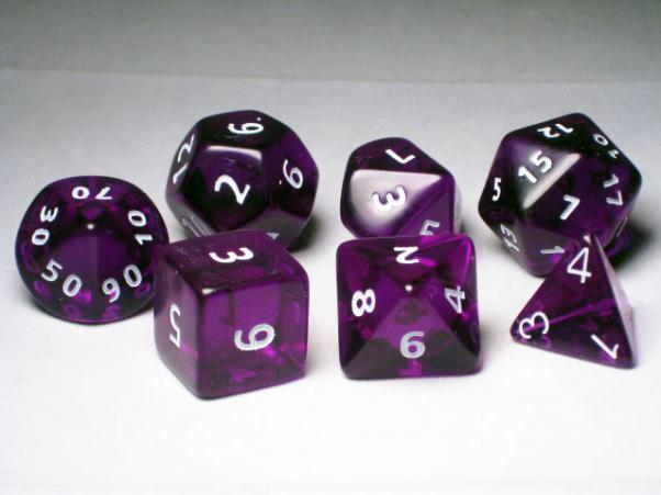 Crystal Caste RPG Dice Sets: Purple Giant Translucent Polyhedral 7-Die Cube/Set