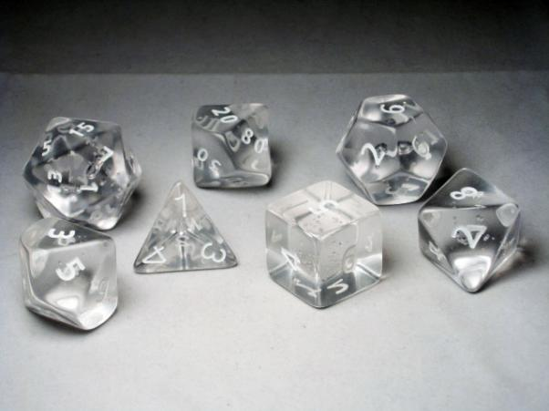Crystal Caste RPG Dice Sets: Clear Giant Translucent Polyhedral 7-Die Cube/Set