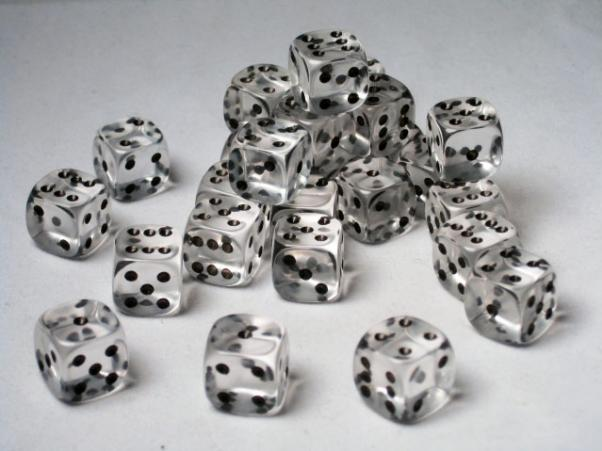 Crystal Caste Dice Sets: Clear Translucent 12mm d6 (Set of 27 Dice)
