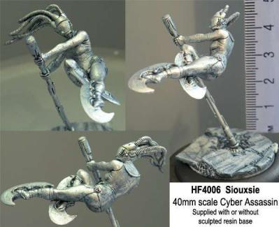Hasslefree Miniatures: 40mm - Siouxsie, 40mm Cyber Assassin