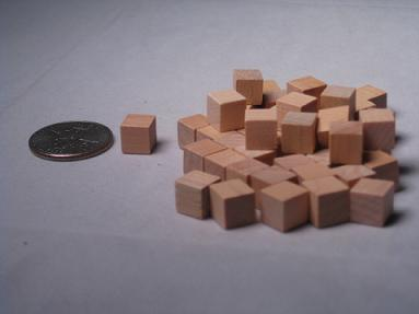 Game Accessories: 8mm Natural Wooden Cube Tokens (100 Pack)