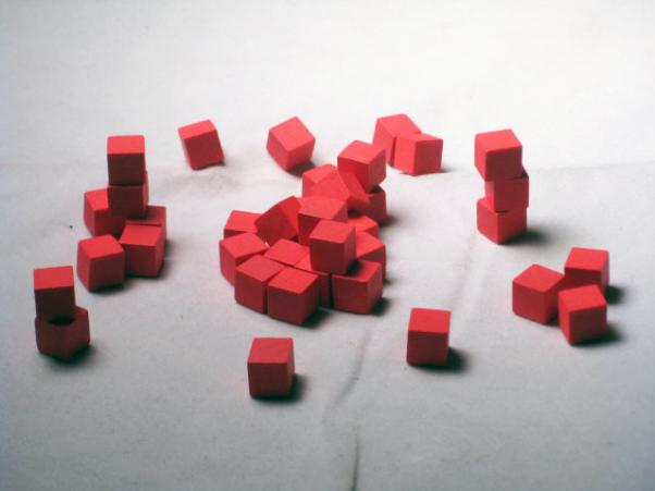 Game Accessories: 8mm Red Wooden Cube Tokens (100 Pack)