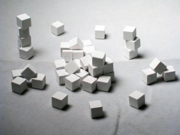 Game Accessories: 8mm White Wooden Cube Tokens (100 Pack)