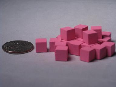 Game Accessories: 8mm Pink Wooden Cube Tokens (100 Pack)