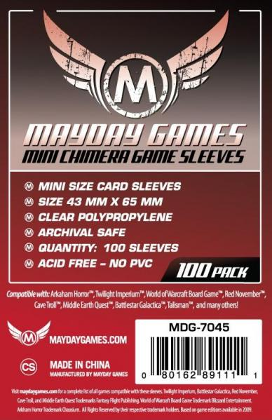 Red Label: Mini Chimera Game Sleeves 43 X 65 MM (100 Pack)