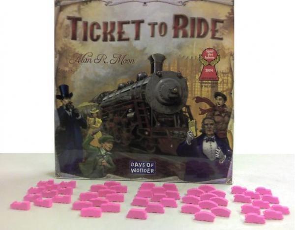 Game Accessories: Pink Wooden Train Token Set (50)