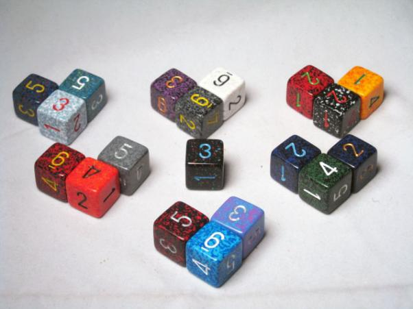 Square Cornered Dice: Assorted Speckled 16mm Numbered d6 (1)