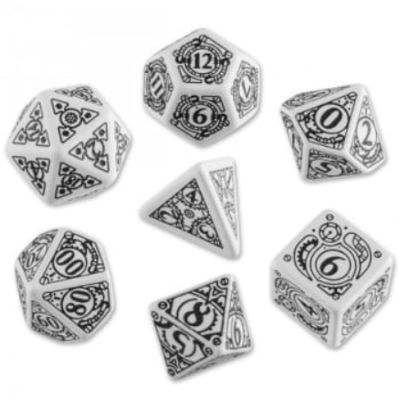 Exotic Dice Sets: White & Black Steampunk Dice Set (7)