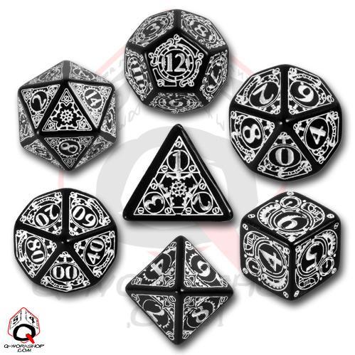 Exotic Dice Sets: Black & White Steampunk Dice Set (7)