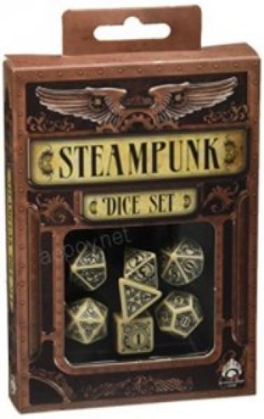 Exotic Dice Sets: Beige & Black Steampunk Dice Set (7)