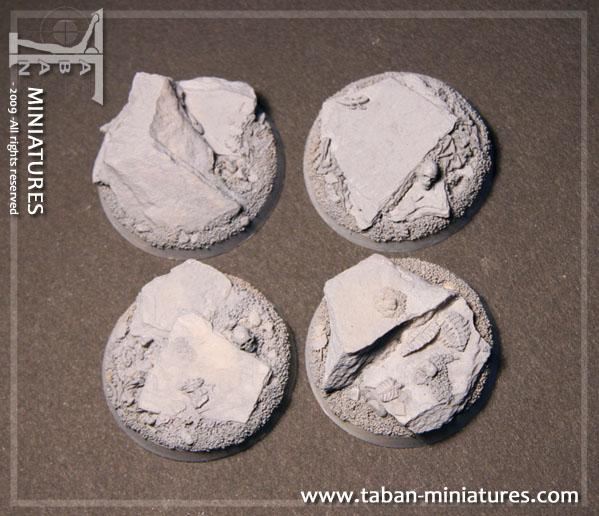 Eden 32mm - Resin Bases: Slate ground, round 40mm (straight edges)