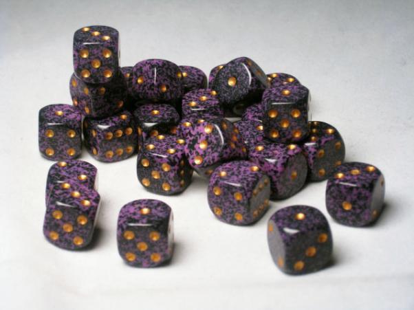 Crystal Caste Dice Sets: Purple Speckled 12mm d6 (Set of 27 Dice)