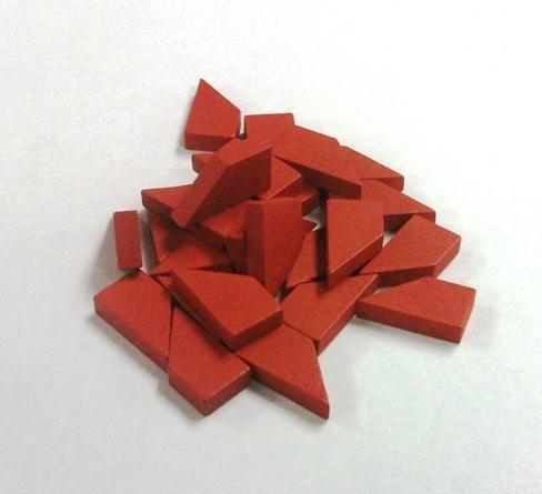 Game Accessories: Red Metal Alloy Wooden Token Set (25 Tokens)