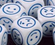 Novelty Dice: Smiley d6 (18mm White/black or White/blue faces) (1)