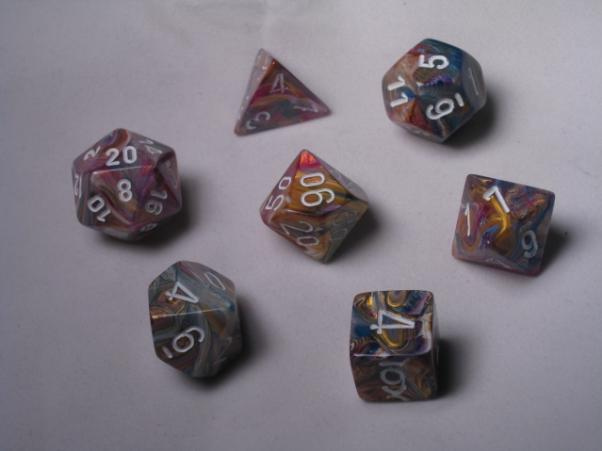 Chessex RPG Dice Sets: Carousel/White Festive Polyhedral 7-Die Set