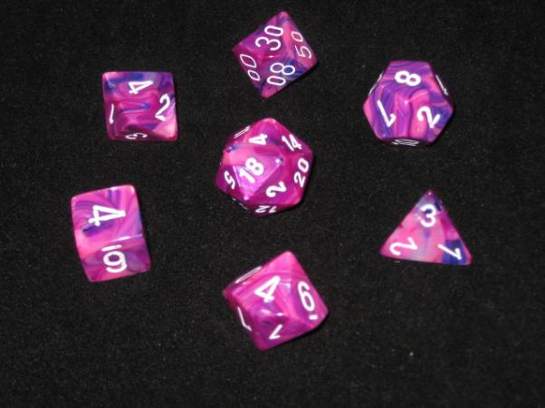 Chessex RPG Dice Sets: Violet/White Festive Polyhedral 7-Die Set