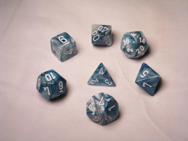 Chessex RPG Dice Sets: Slate/White Lustrous Polyhedral 7-Die Set
