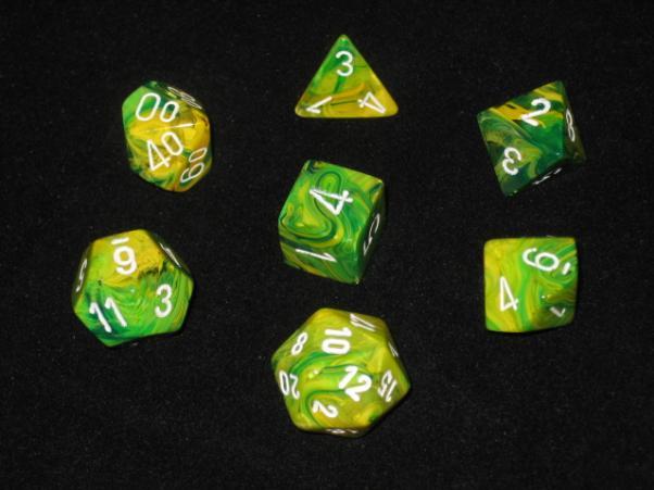 Chessex RPG Dice Sets: Dandelion/White Vortex Polyhedral 7-Die Set [MFG OOP]