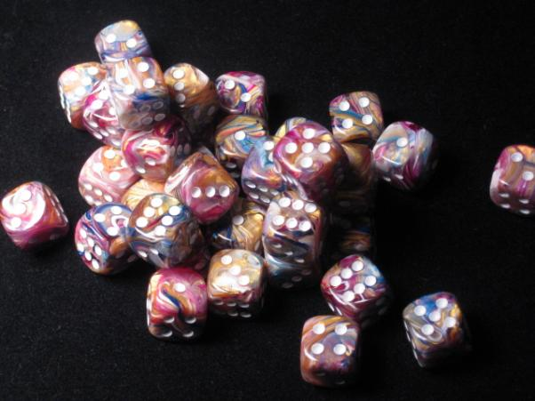 Chessex Dice Sets: Carousel/White Festive 12mm d6 (36)