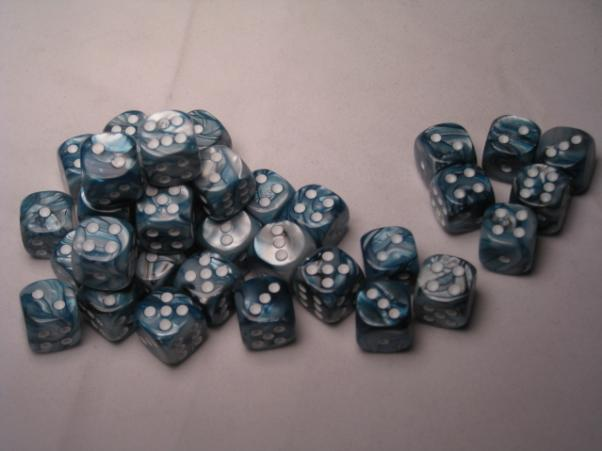 Chessex Dice Sets: Slate/White Lustrous 12mm d6 (36)