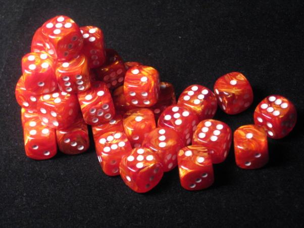 Chessex Dice Sets: Bronze/White Lustrous 12mm d6 (36)