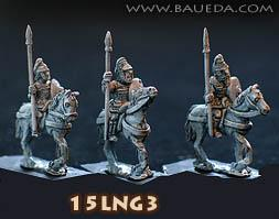 Hostis (15mm Ancient): Gasindi Noble Knights standing  (4 mtd. Figures)