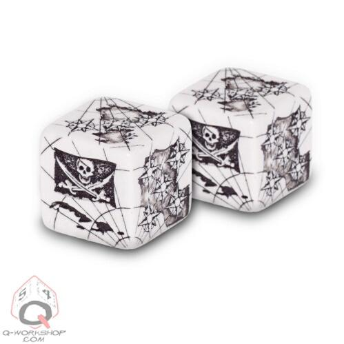 Exotic Dice Sets: White & Black d6 Pirate Dice (2)