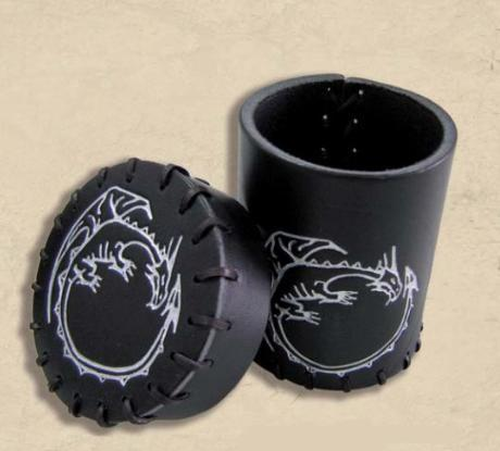 Leather Dice Cups: Black Dragon Leather Dice Cup