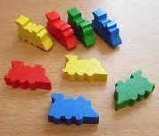 Gaming Accessories: Wooden Trains, 32mm (4, multi-color)