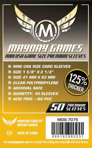 Dark Yellow Label: Premium Mini USA Game Size Sleeves 41 X 63 MM (50 Pack)