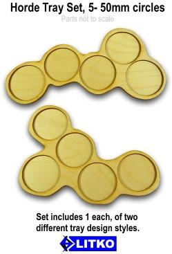 Hordes Tray Set: 5-50mm Circular Bases (2)
