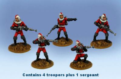 Retro Raygun: (Galacteers) Command Squad  (one sergeant and four troopers)