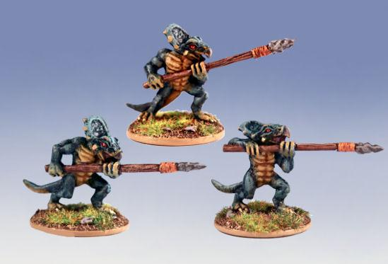 Primal Dawn: (Rog) Ugg Spearmen (3 saurians-new poses)