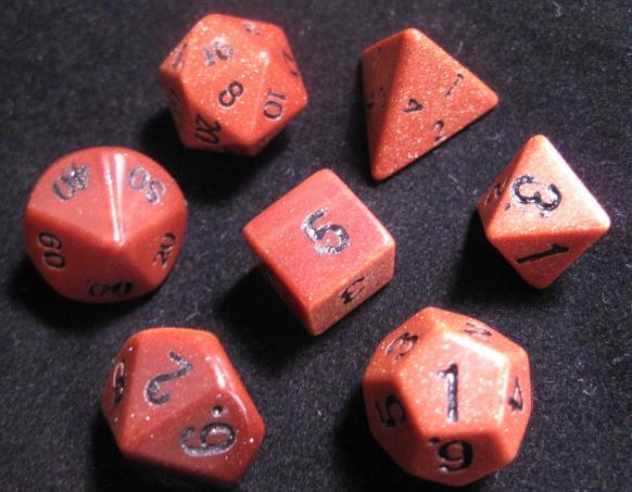 Dwarven Stone 14mm Dice: Goldstone Red (7-Die Set)