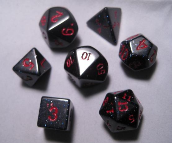 Dwarven Stone 14mm Dice: Goldstone Blue (7-Die Set)
