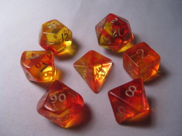 Crystal Caste RPG Dice Sets: Firefly Red Polyhedral (7-Die Set)