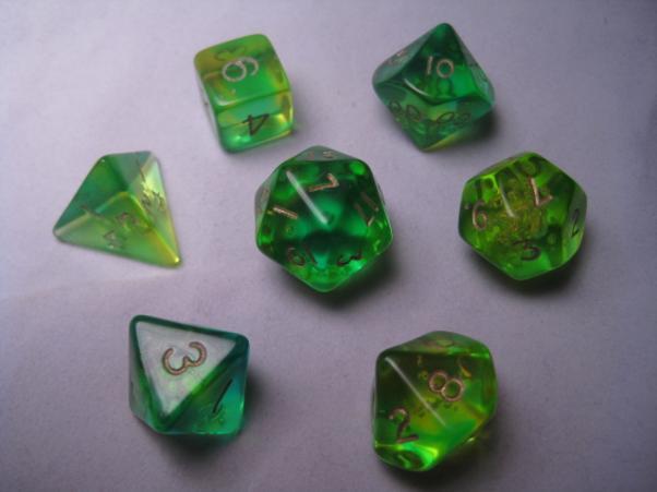 Crystal Caste RPG Dice Sets: Firefly Aqua Polyhedral (7-Die Set)
