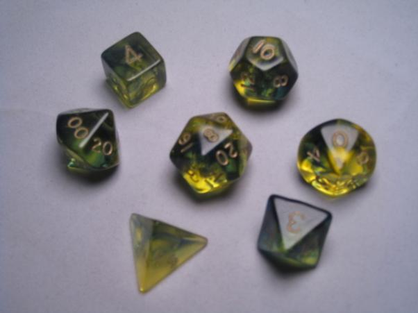 Crystal Caste RPG Dice Sets: Firefly Blue Polyhedral (7-Die Set)