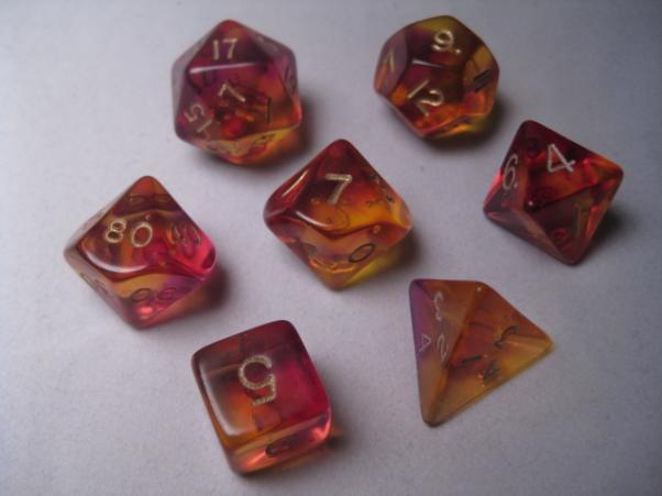 Crystal Caste RPG Dice Sets: Firefly Purple Polyhedral (7-Die Set)