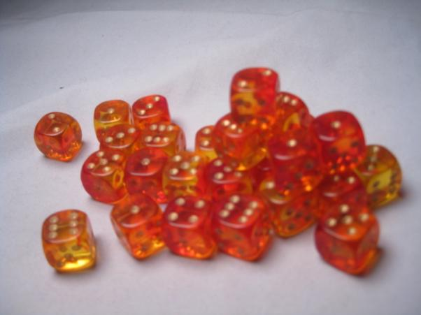 Crystal Caste RPG Dice Sets: Firefly Red 12mm d6 (27)