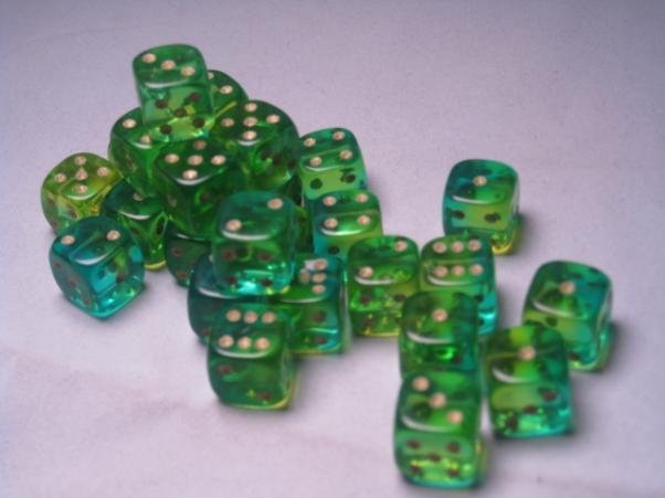 Crystal Caste RPG Dice Sets: Firefly Aqua 12mm d6 (27)