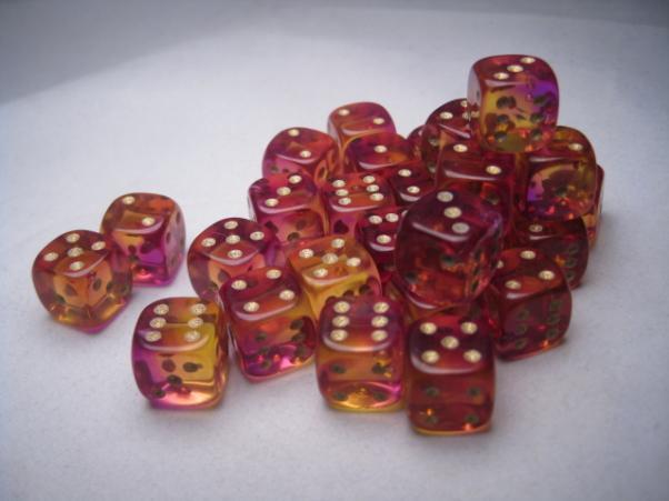 Crystal Caste RPG Dice Sets: Firefly Purple 12mm d6 (27)