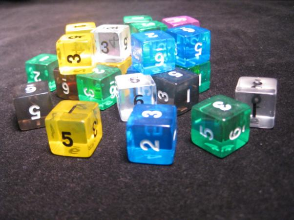 Numbered Dice: Assorted Translucent 16mm Numbered d6 (1)