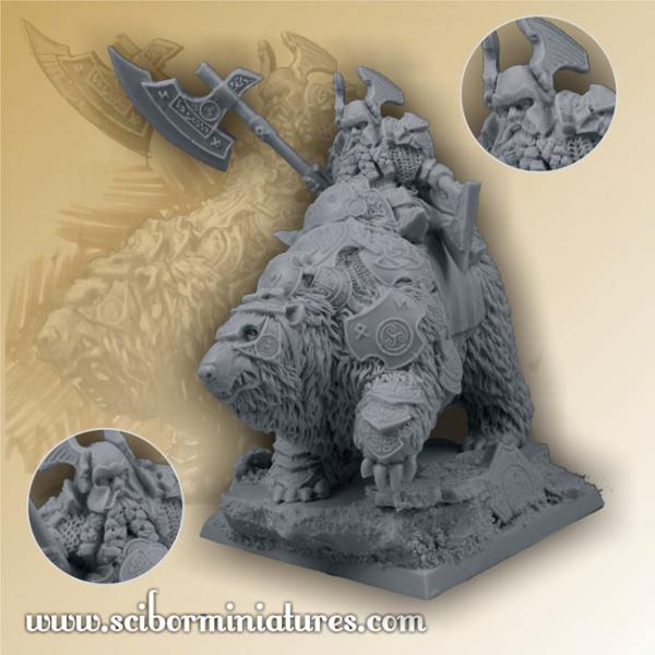 28mm Fantasy Miniatures: 28mm/30mm Dwarf General on War Bear