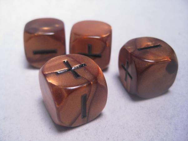 Fudge Dice: Olympic Bronze (4 dice in plastic tube)