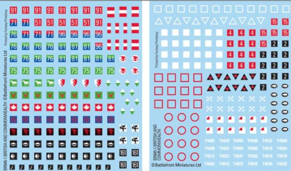 Flames of War - British: British and Commonwealth Decals