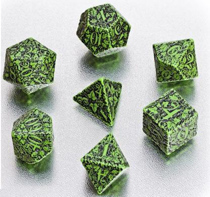 Exotic Dice Sets: Green & Black Forest 3D Dice Set (7)