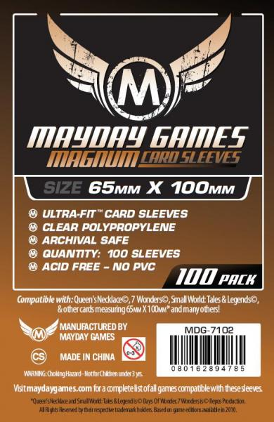 Clear Magnum Ultra-Fit Copper Sleeves: 65 MM X 100 MM (100 Sleeves for 7 Wonders)