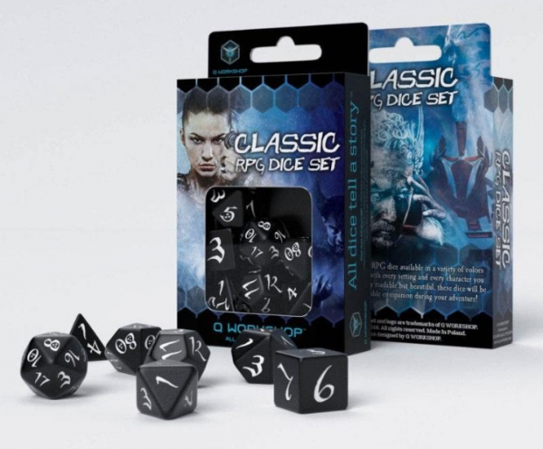 Black/White Classic RPG Dice Set (7)