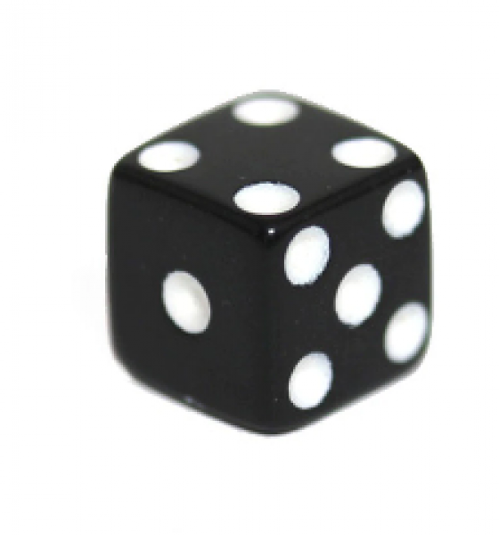 Miniature Dice: Black/White Opaque 8mm Pipped d6 (1)
